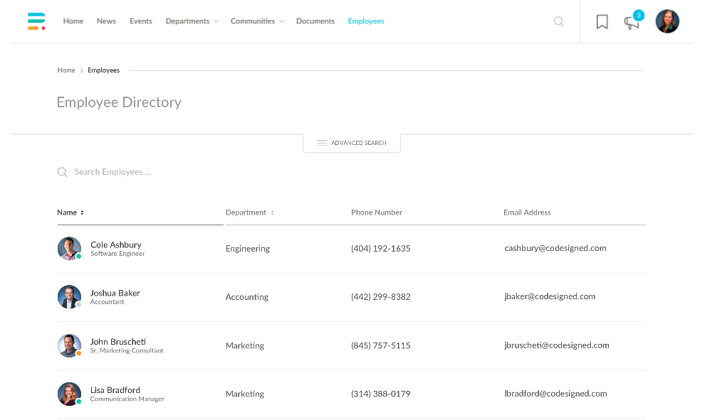 Engaging Intranet Employee Directory