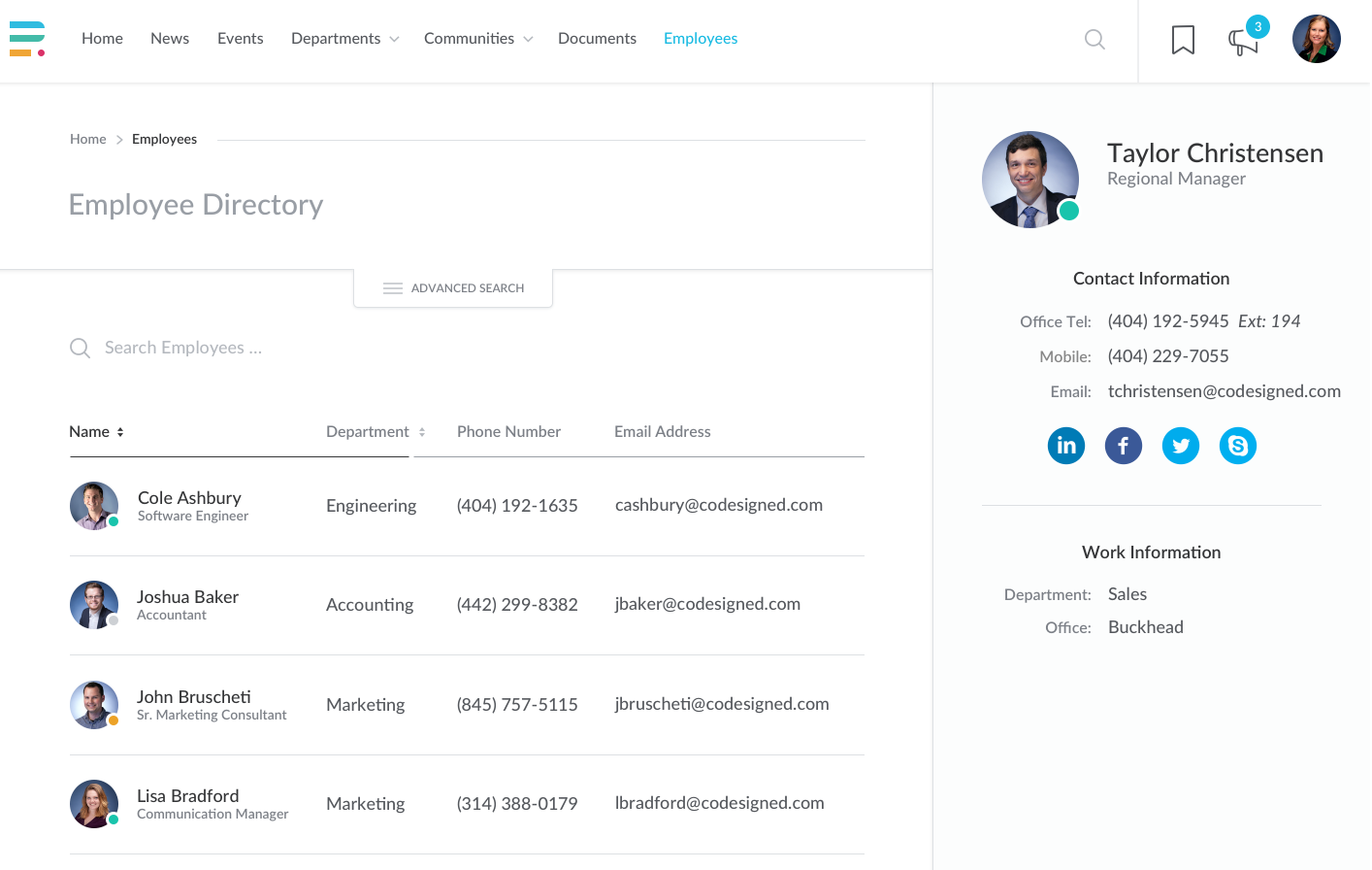 Enterprise Intranet Employee Directory